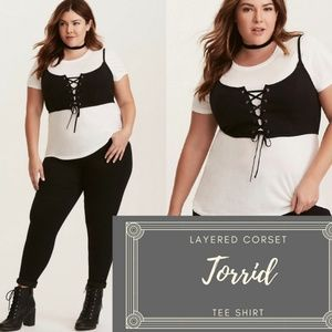NWOT Torrid Layered Black Corset White Tee shirt